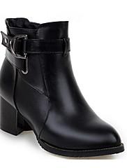 Feminino Sapatos Couro Ecológico Outono Inverno Conforto Coturnos Botas Para Casual Preto Bege Vermelho