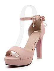 Feminino Sapatos Couro Ecológico Verão Conforto Sandálias Para Casual Branco Preto Rosa claro