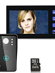 7 tommer hd optagelse video dør telefon intercom dørklokke med 8g tf kort berøringsknap fjernoplåsning nat vision sikkerhed cctv kamera