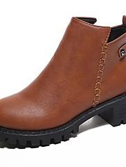 Feminino Sapatos Couro Ecológico Outono Inverno Solados com Luzes Botas Rasteiro Ponta Redonda Cadarço Para Casual Preto Khaki