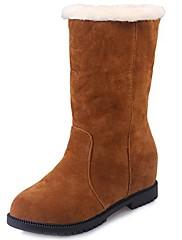 Feminino Sapatos Couro Ecológico Outono Inverno Solados com Luzes Botas Rasteiro Ponta Redonda Cadarço Para Casual Preto Vermelho Khaki