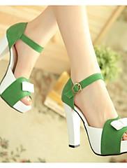 Dámské Boty Pravá kůže PU Léto Lodičky Sandály Vysoký Pro Ležérní Fuchsiová Zelená Modrá
