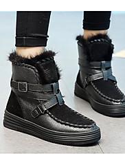 Damer Sko Ægte Læder Vinter Snestøvler Støvler Spidstå Til Afslappet Sort Grå