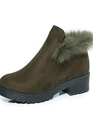 Feminino Sapatos Pele Nobuck Outono Inverno Conforto Botas de Neve Botas da Moda Botas Salto Grosso Ponta Redonda Botas Curtas / Ankle