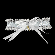cheap Wedding Garters-Lace Satin Classic Wedding Garter with Bowknot Ribbon Tie Garters