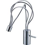 アールデコ調/レトロ風 センターセット 回転可 with  セラミックバルブ 一つ シングルハンドルつの穴 for  クロム , バスルームのシンクの蛇口