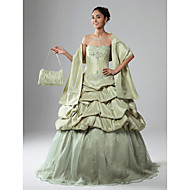 A-Line Ball Gown Strapless Scalloped Floor Length Organza Taffeta Prom Dress with Appliques by TS Couture®