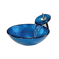 Χαμηλού Κόστους Περιλαμβάνεται Βρύση-Νιπτήρας μπάνιου Βρύση μπάνιου Σύγχρονο - Σκληρυμένο Γυαλί Κυκλικό