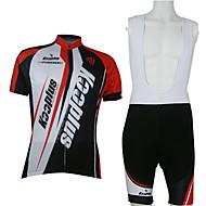 Kooplus 男性用 半袖 ビブショーツ付きサイクリングジャージー - レッド / ホワイト バイク 洋服セット, 速乾性, 高通気性 ポリエステル