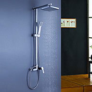 Contemporary Shower System Rain Shower Handshower Included with  Ceramic Valve Three Holes Single Handle Three Holes for  Chrome , Shower
