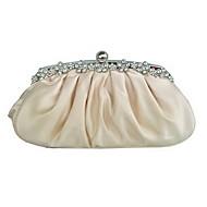 baratos Clutches & Bolsas de Noite-Mulheres Bolsas Seda Bolsa de Festa Cristal / Strass Champanhe / Ivory / Nulo / Sacolas de casamento