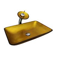 Χαμηλού Κόστους Περιλαμβάνεται Βρύση-Σύγχρονο Τετράγωνο νεροχύτη Υλικό είναι Σκληρυμένο Γυαλί Νιπτήρας μπάνιου Βρύση μπάνιου Κρίκος πετσετών μπάνιου Σωλήνας Αποστράγγισης