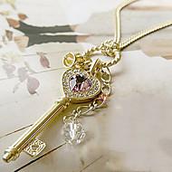 Dame Krystal Halskædevedhæng - Krystal Hjerte Kærlighed, Elegant Guld, Sølv Kroneformet Halskæder Smykker Til Fest, Tak skal du have, Daglig