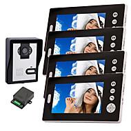 billige Dørtelefonssystem med video-konx® trådløs nattsyn-kamera med 7 tommers dørtelefon skjerm (1camera 4 skjermer)