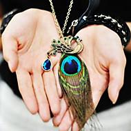női páva toll gyémánt vintage nyaklánc