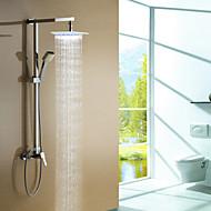 Moderne Duschsystem Handdusche inklusive LED with  Keramisches Ventil Drei Löcher Einhand Drei Löcher for  Chrom , Duscharmaturen