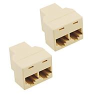 Socket Rj45 Splitter Connector Cat5 Cat6 Lan Ethernet Splitter  Adapter (2-Pack)