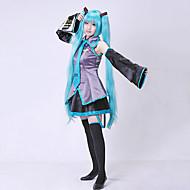 Esinlenen Vocaloid Hatsune Miku Video oyun Cosplay Kostümleri Cosplay Takımları Elbiseler Kolsuz Bluz Etek Düğüm Kollar Kemer Uzun Çorap