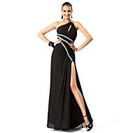 Kroj uz tijelo Na jedno rame Do poda Šifon Formalna večer / Svečana priredba Haljina s Perlica Prednji izrez po TS Couture®