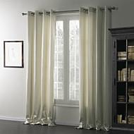 billige Gardiner-To paneler Window Treatment Moderne , Ensfarget Lintøy / Bomull Blanding Lin/Bomull Blanding Materiale gardiner gardiner Hjem Dekor For
