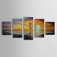 Hand-Painted Landscape / People / Abstract Landscape Five Panels Canvas Oil Painting For Home Decoration