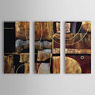 baratos -Pintados à mão Abstrato Horizontal Tela de pintura Pintura a Óleo Decoração para casa 3 Painéis