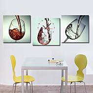 Modern Style Wine-glass Wall Clock in Canvas 3pcs Wall Clocks