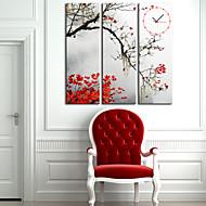 moderno estilo folha relógio de parede em tela 3pcs