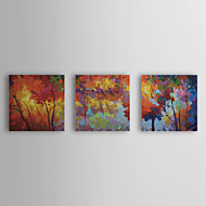 cheap Wall Art-Oil Painting Hand Painted - Floral / Botanical Canvas Three Panels