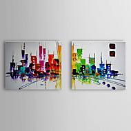 손으로 그린 추상적인 추상 풍경 수평,전통적 클래식 2판넬 캔버스 항으로 그린 유화 For 홈 장식
