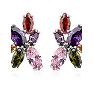cheap Jewelry Clearance-S&V Women's Floral Hand Made Zircon Crystal Stud Earrings Elegant Style