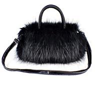 女性 バッグ その他皮革 トート ファー のために カジュアル ホワイト ブラック オレンジ フクシャ クリーム色