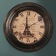 "1pc 13.5 ""h metal country style khaki wall clock home deraction"