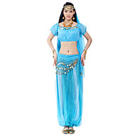 cheap Dancewear & Dance Shoes-Belly Dance Outfits Women's Chiffon Beading / Coin Natural / Performance