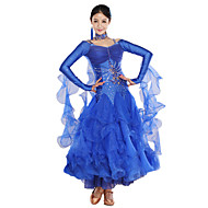 cheap Sale-Ballroom Dance Dresses Women's Training Spandex Tulle Crystals / Rhinestones Long Sleeves