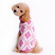 Pies Swetry Ubrania dla psów Plaid / Sprawdź Niebieski Różowy Kostium Dla zwierząt domowych