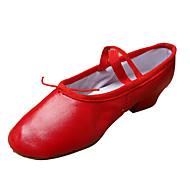billige Moderne sko-Dame Ballettsko Lær Høye hæler Tykk hæl Kan ikke spesialtilpasses Dansesko Nøgen / Svart / Rød