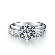 Ringer Dame Diamant Sølv / Sterling Sølv / Platinabelagt Sølv / Sterling Sølv / Platinabelagt Kjærlighet 5 / 6 / 7 / 8 / 8½ / 9 / 9½ Klar