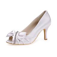 女性の靴は、より多くの色が利用可能なちょう結びの靴で、つま先スチレットヒールサテンパンプスをのぞき見