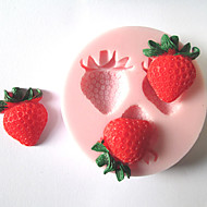 kek için üç delik çilek meyve silikon kalıp fondan kalıpları şeker zanaat araçları çikolata kalıp