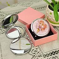 preiswerte Customized Neuheiten-Personalisierte Geschenke Floral-Art-Rosa Chrome Taschenspiegel