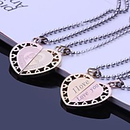 Personalized Gift Couples Stainless Steel Jewelry Engraved Pendant Lovers Necklace with  60cm Chain