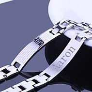 , Személyre szabott ajándékot Férfi ékszerek rozsdamentes acél gravírozott azonosító karkötőt 1.2cm szélesség
