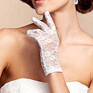 cheap Wedding Gloves-Lace Polyester Wrist Length Glove Classical Bridal Gloves With Solid