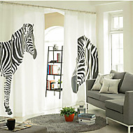 Two Panels Curtain Designer , Print Animal Bedroom Linen / Cotton Blend Material Curtains Drapes Home Decoration