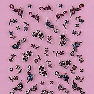 hesapli 3D Sticker-3D Tasarım Siyah dört yapraklı Yonca Pattern Yapay elmas Nail Art Etiketler