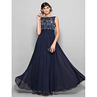 A-kroj Scoop Neck Do poda Šifon Prom Formalna večer Svečana priredba Haljina s Perlica Mašna Nabrano po TS Couture®
