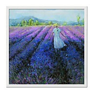 Landscape Lavender Field Framed Oil Painting