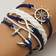 Per donna Multistrato Dell'involucro del braccialetto Bracciali in pelle - Pelle Ancora, Infinito Personalizzato, Essenziale, Di tendenza, Multistrato Bracciali Gioielli Blu Per Feste Regalo