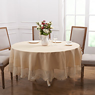 cheap Table Linens-White Polyester Round Table Cloths